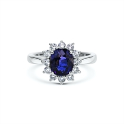 Oval Sapphire & Brilliant Cut Diamond Cluster Ring 2.01ct