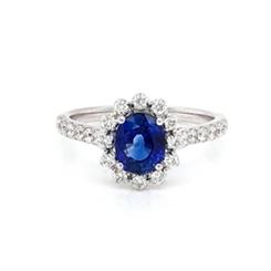 Sapphire & Diamond Halo Cluster Engagement Ring 1.26ct