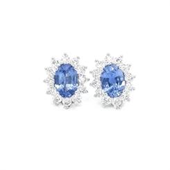 Cornflower Blue Sapphire & Diamond Earrings 1.70ct