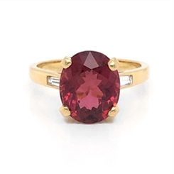 Pink Tourmaline & Tapered Baguette Cut Dress Ring 4.07ct