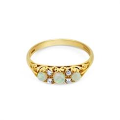 Opal & Diamond Carved Half Hoop Ring 0.39ct