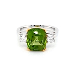 Peridot & Diamond Claw Set Three Stone Dress Ring 5.05ct