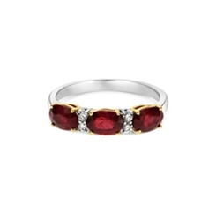 Ruby & Diamond Half Eternity Ring 2.03ct