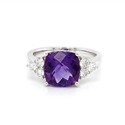 Amethyst Checkerboard Cushion Cut Dress Ring With Trefoil Shoulders 2.65ct