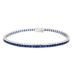 Princess Cut Sapphire Channel Set Line Bracelet 9.49ct