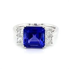 Tanzanite Octagon & Princess Cut Diamond Dress Ring 4.19ct