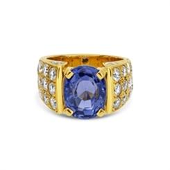 1980's Oval Sapphire & Pave Set Diamond Dress Ring