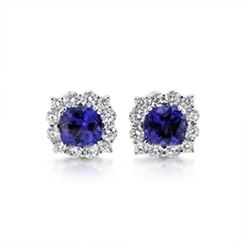 Tanzanite & Diamond Claw Set Cluster Stud Earrings 3.55ct