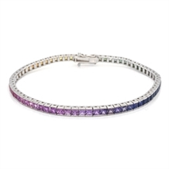 Channel Set Sapphire Rainbow Bracelet 7.27ct