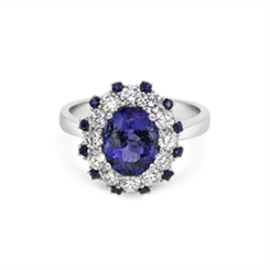 Tanzanite & Diamond Cluster Dress Ring With Sapphire Accents 2.22ct
