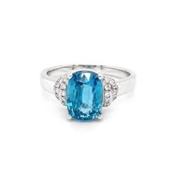 Blue Zircon Cushion Cut Diamond Dress Ring 2.13ct