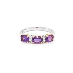 Claw Set Amethyst & Diamond Half Eternity Ring 1.35ct