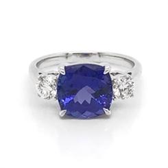Tanzanite & Diamond Trilogy Dress Ring 3.72ct