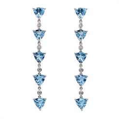 Aqua & Diamond Drop Earrings 3.67ct