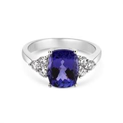 Tanzanite Dress Ring With Diamond Trefoil Shoulders 3.15ct