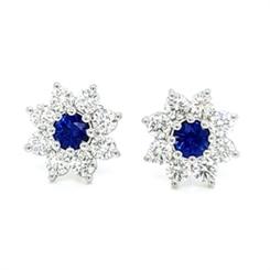 Sapphire & Diamond Claw Set Cluster Studs 0.53ct
