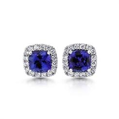 Micro Set Tanzanite & Diamond Cluster Earrings 4.33ct