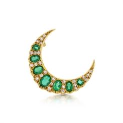 Oval Emerald & Diamond Crescent Brooch 1.50ct Approx