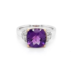 Facetted Cushion Cut Amethyst & Diamond Dress Ring 2.70ct