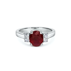 Ruby Oval & Diamond Engagement Ring 2.06ct