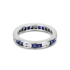 Sapphire French Cut & Diamond Full Eternity Ring 1.68ct