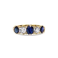 Sapphire & Diamond Carved Half Hoop
