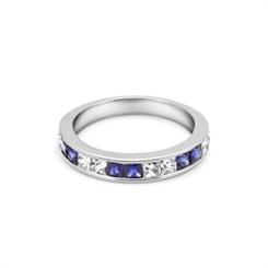 Sapphire & Diamond Channel Set Half Eternity Ring