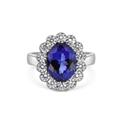 Tanzanite & Diamond Cluster Ring With Millgrain Finish 4.97ct