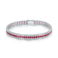 Ruby &  Diamond Triple Row Bracelet 8.87ct