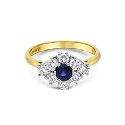 Blue Sapphire & Brilliant Cut Diamond Cluster Ring 0.48ct