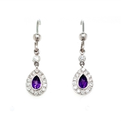 Amethyst & Diamond Drop Cluster Earring & Pendant Suite 0.65ct