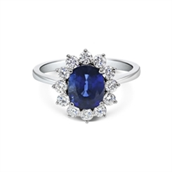 Oval Sapphire & Diamond Cluster Ring 2.05ct