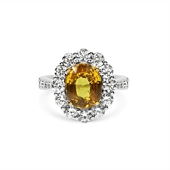 Yellow Sapphire Oval & Diamond Cluster Ring 3.61ct