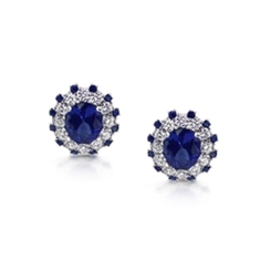 Oval Tanzanite & Diamond Cluster Stud Earrings With Sapphire Accents 4.95ct