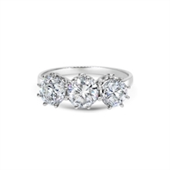 Claw Set Three Stone Brilliant Cut Diamond Engagement Ring 2.20ct