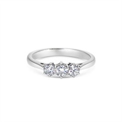 Brilliant Cut Diamond Claw Set Three Stone Ring 0.65ct