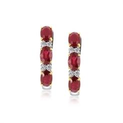 Ruby & Diamond Half Hoop Earrings 3.46ct