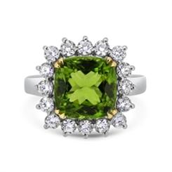 Peridot Cushion Cut & Diamond Cluster Ring 7.05ct