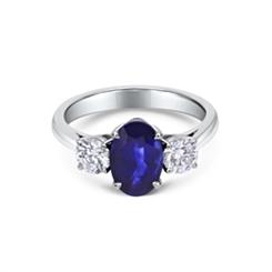 Sapphire & Diamond Trilogy Engagement Ring 2.12ct