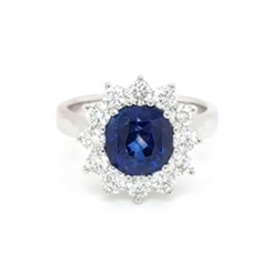 Sapphire Claw Set Cushion Cut Cluster Ring