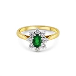 Emerald Oval & Diamond Cluster Ring