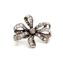 Victorian Old Cut Diamond Set Ribbon Brooch 4.75ct Approx