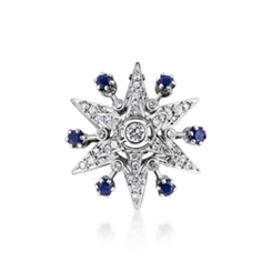 Diamond Double Star Brooch With Sapphire Accents 0.70ct
