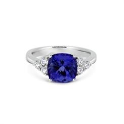 Tanzanite Dress Ring With Diamond Trefoil Shoulders 3.26ct