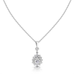 Pear Shape Diamond Drop Cluster Pendant 0.92ct