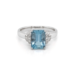 Aqua Octagon Dress Ring With Diamond Banded Shoulders 2.60ct