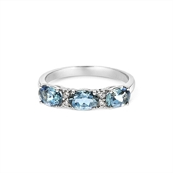 Aqua Oval & Diamond Half Eternity Ring