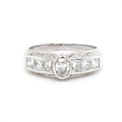 Oval Diamond Engagement Ring With Diamond Set Band 0.30ct