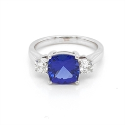 Cushion Cut Tanzanite & Brilliant Cut Diamond Three Stone Ring 3.00ct