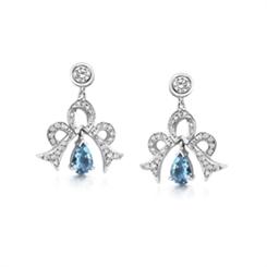 Aqua Pear Shape & Diamond Bow Drop Earrings